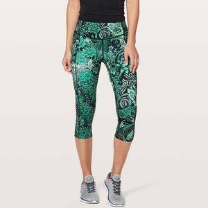 Lululemon Fast & Free High Rise Crop Legging Green Sz 6